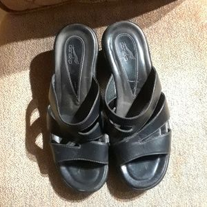 Dansko Black Leather Slip On Sandals